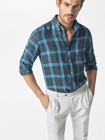 SLIM FIT CHECKED LINEN SHIRT