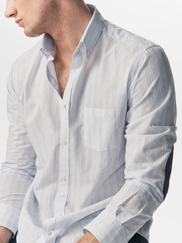 SLIM FIT STRIPED SHIRT WITH ELBOW PATCH DETAIL