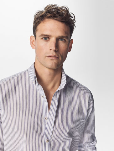 SLIM FIT WHITE SHIRT WITH BLUE STRIPES