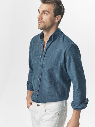 CAMISA DENIM DISEÑO RAYAS SLIM FIT