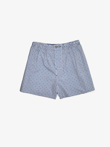 TWO-TONE POLKA-DOTS AND STRIPES PRINTED UNDERPANTS