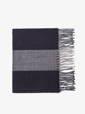TWO-TONE REVERSIBLE WOOL TWILL SCARF