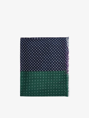 PATCHWORK PRINT WOOL PASHMINA WITH POLKA DOT DETAIL