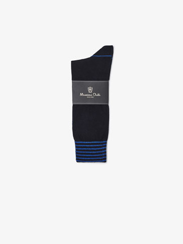 BRUSHED COTTON SOCKS WITH STRIPES DETAIL