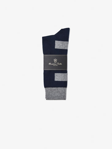 BRUSHED COTTON SOCKS WITH CONTRAST STRIPES DETAIL