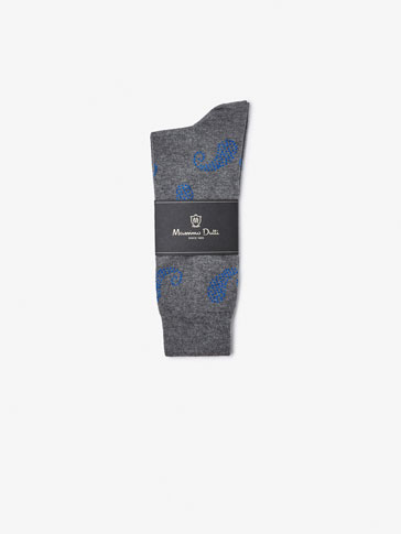 BRUSHED COTTON SOCKS WITH PAISLEY DETAIL