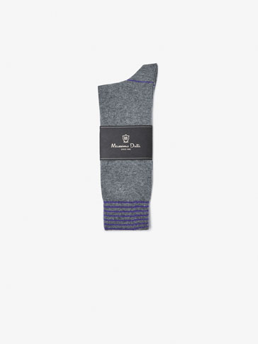BRUSHED COTTON SOCKS WITH MELANGE STRIPES DETAIL