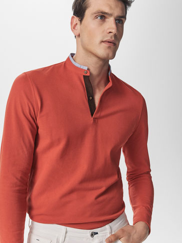 MICRO TEXTURED WEAVE POLO SHIRT WITH CONTRASTING COLLAR