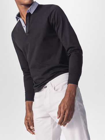 COTTON POLO SHIRT WITH SHIRT COLLAR DETAIL