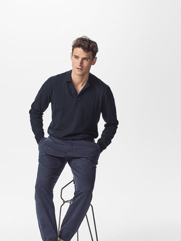 POLO SHIRT WITH TEXTURED WEAVE DETAIL