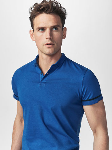 KNIT POLO SHIRT WITH CONTRASTING STRIPES DETAIL