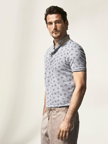 MARL POLO SHIRT WITH EQUESTRIAN PRINT