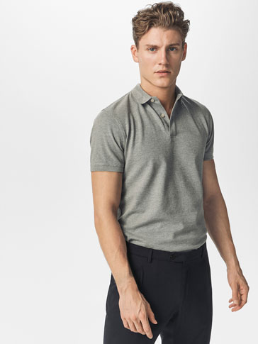 MARL POLO SHIRT WITH TEXTURED WEAVE DETAIL