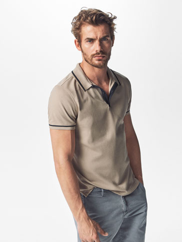 POLO SHIRT WITH TRICOTINE DETAIL