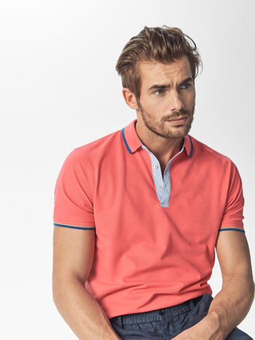 POLO SHIRT WITH STRIPED EDGE DETAIL