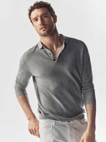 POLO-STYLE SWEATER WITH A FRONT TEXTURED DETAIL