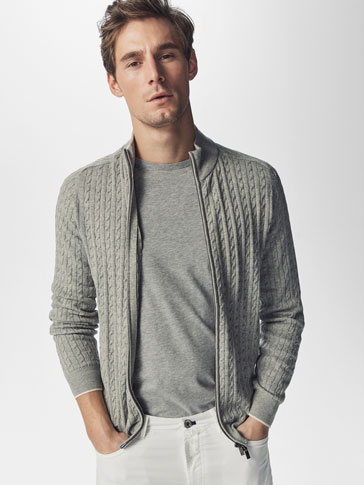 CARDIGAN WITH CABLE-KNIT DETAILS