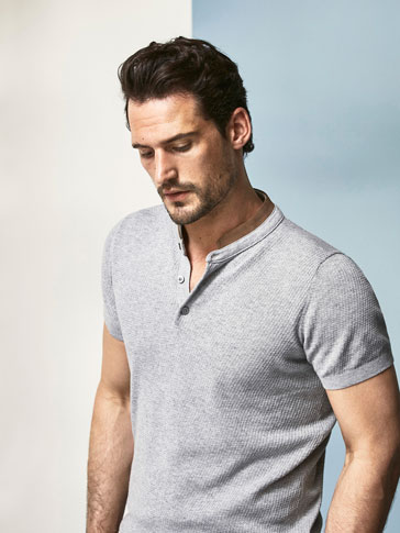 JERSEY POLO EQ LEATHER MAO NECK SHORT SLEEVES
