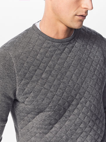 SWEATER WITH QUILTED FRONT DETAIL