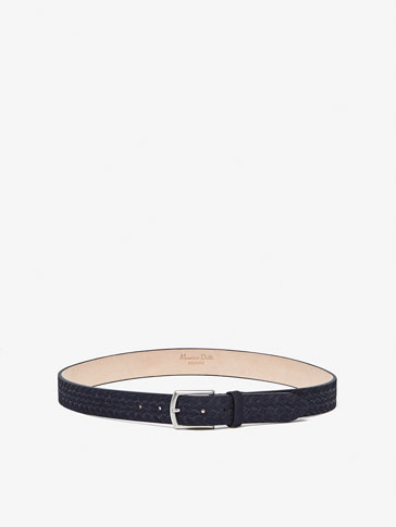 SPLIT SUEDE BELT WITH EMBOSSED PLAITED DETAIL