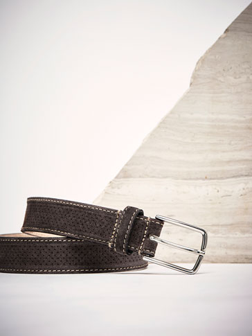 PERFORATED LEATHER BELT WITH TOPSTITCHED EDGE DETAIL