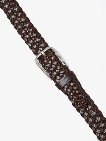 LEATHER BELT WITH PLAITED DETAIL
