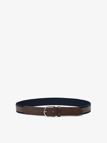 CONTRAST LEATHER AND CANVAS BELT