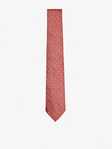 SILK TIE WITH POLKA DOT DETAIL