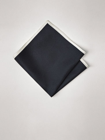 PERSONAL TAILORING PLAIN SILK POCKET SQUARE WITH CONTRASTING EDGE