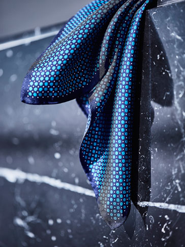 BLUE POLKA DOTS SILK SCARF