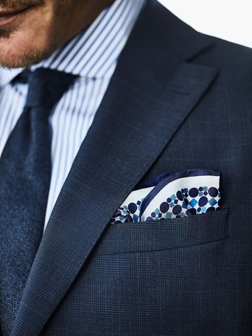 TWO-TONE SILK POCKET SQUARE WITH MOTIFS