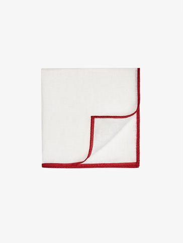 LINEN POCKET SQUARE WITH RED CONTRASTS