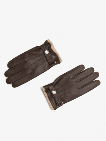 BROWN LEATHER GLOVES WITH CONTRASTING DETAIL