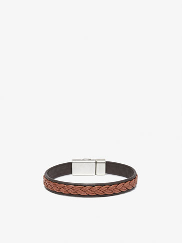 LEATHER BRACELET WITH RAISED PLAITING DETAIL
