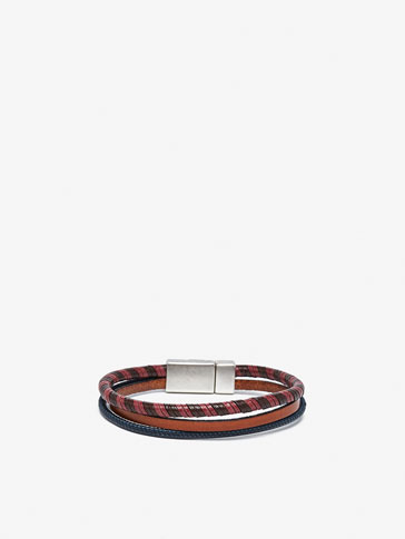 TRIPLE LEATHER BRACELET WITH TWO-TONE SPIRAL DETAIL