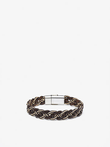CONTRAST LEATHER BRACELET WITH TWO-TONE CORD DETAIL