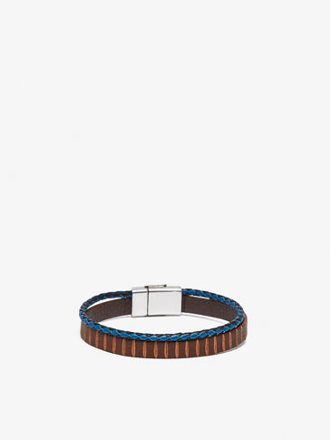 DOUBLE LEATHER BRACELET WITH BLUE TUBULAR DETAIL
