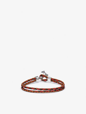 TRICOLOURED DOUBLE BRACELET WITH ANCHOR DETAIL