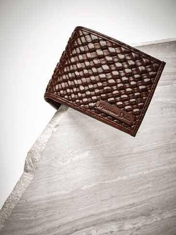LEATHER WALLET WITH RUSTIC PLAITED DETAIL