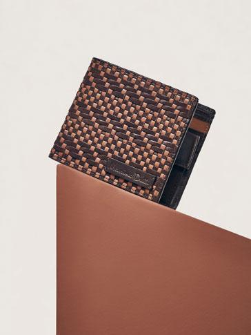 محفظة جلد بضفيرة ثنائية اللون إصدار محدود