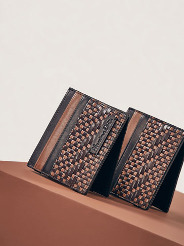 LIMITED EDITION LEATHER MAGIC WALLET WITH TWO-TONE PLAITED DETAIL