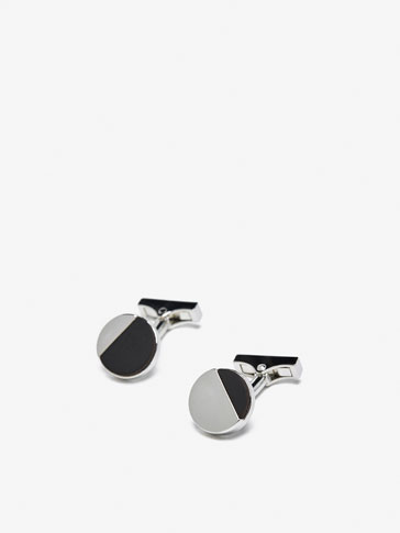 CUFFLINKS WITH CONTRAST CIRCULAR BUTTON