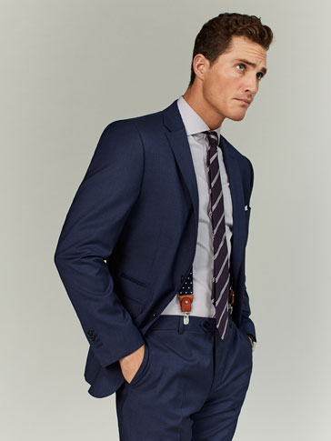 SLIM FIT DEEP BLUE STRIPED WOOL/SILK BLAZER