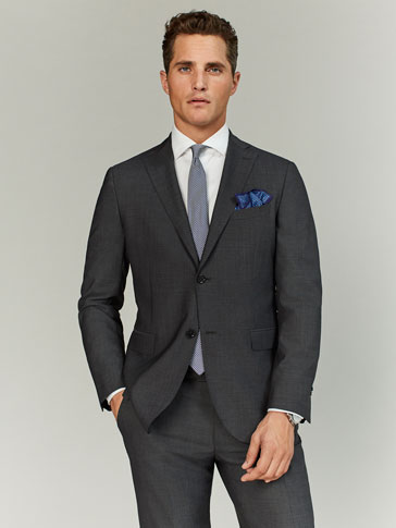 SLIM FIT GREY FIL À FIL WOOL BLAZER
