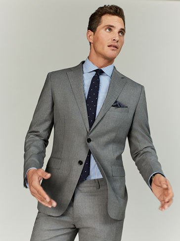SLIM FIT GREY FLAT WOOL BLAZER