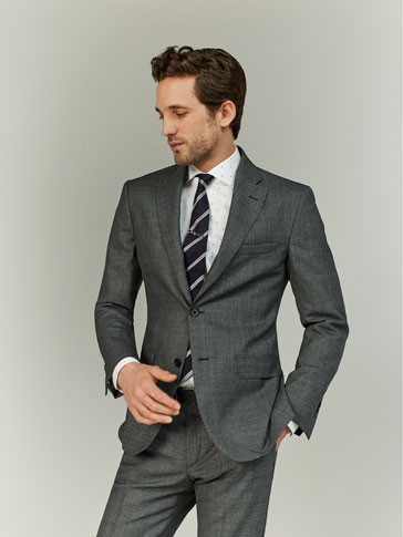 SLIM FIT GREY HOUNDSTOOTH WOOL BLAZER