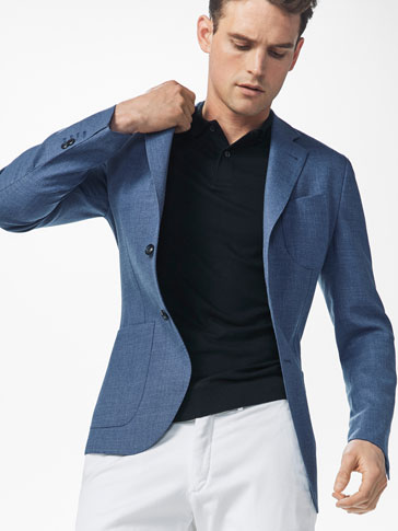 SLIM FIT WOOL TEXTURED WEAVE BLAZER