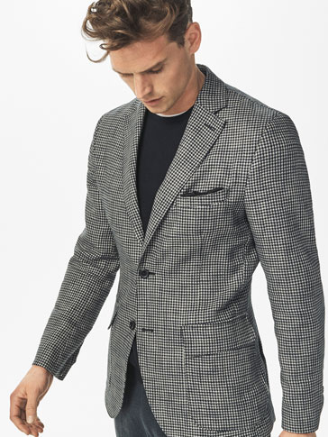 SLIM FIT LINEN/COTTON HOUNDSTOOTH BLAZER