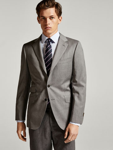 SLIM FIT GREY WOOL BLAZER
