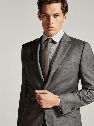 SLIM FIT FALSE-PLAIN WOOL BLAZER